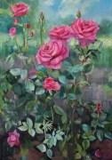 «Розы в саду» <br/> х/м