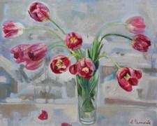 «Красные тюльпаны» <br/> х/м
