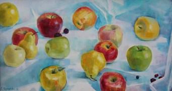 «Яблоки на белом» <br/> х/м 57х32см