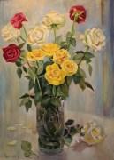 «Розы в вазе» <br/> х/м 70х50см